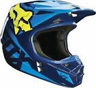 14400-026 Fox Helmet V1 Blue Yellow Race Adult Motorcycle MX ATV  Helmet