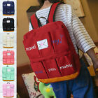 Women Men Backpack 6 Pockets Outside Tote Multifunction Canvas Medium Bag New