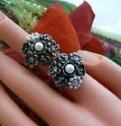 Ring Floral Cluster Crystal Pearl Vintage Bronze Silver Unusual Gift for her