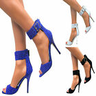 LADIES STILETTO ANKLE CUFF STRAP BUCKLE GLITTER HIGH HEEL SANDALS PEEP TOE SHOES