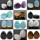 Pair Teardrop Organic Natural Stone Flesh Tunnels Ear Gauge Plug Egg Pear Shape