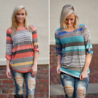 CH New Fashion Women Stripe Long Sleeve Shirt Casual Blouse Loose Tops T Shirt