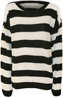 New Womens Striped Black White Long Sleeve Fisherman Ladies Knitted Jumper 8-14