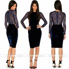 Rare Womens Lace Long Sleeve Bodycon Evening Party Cocktail Midi Dress