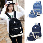 Women Girl Simple Canvas Shoulder School Bag Backpack Travel Satchel Rucksack