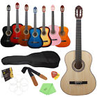 """New 8 Colors 39"""" Classical Basswood Acoustic Guitar w/ Bag Strings Strap Picks"""