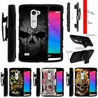 For LG Power | Destiny | Risio Rugged Matte Holster Clip Stand Case Faded Skull