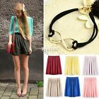 7Colors Retro Double Chiffon High Waist Short Pleated Mini Skirt Dress/Bracelet