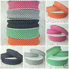 polka dot bias binding cotton 5 colours 25mm wide per 4 metres