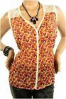 DEALZONE Charming Floral Chiffon Top 1X Women Plus Size Red Casual