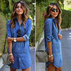 Vintage Fashion Sexy Mini Dress Casual Button Women's Jean Denim Shirt Long Tops