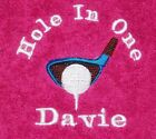 Mens Ladies Personalised Embroidery Golf Towel With Bag Hook 6 Colours Any Name