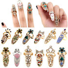New Beauty Bowknot Crystal Rhinestone Nail Art Knuckle Band Finger Tip Ring