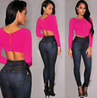 GIFT Women Fashion Long Sleeve Round Collar Backless Sexy Zipper T-Shirt Top