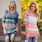 Fashion Womens Casual Striped T-shirt Top Loose Long Sleeve Blouse Tops Shirts