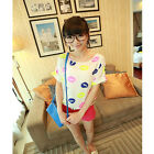 New Fashion Womens Casual Short Sleeve Lips Printed Chiffon T-shirt Tops Blouse