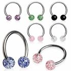 Glitter Circular Barbell Cartilage Tragus Helix Lip Ear Belly Nose Eye Bar 16ga