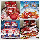 Santa Claus Duvet Doona Quilt Cover Set Double Queen King Size Cotton Christmas