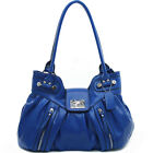 Large Chic Fashion Faux Leather Shoulder Handbag in Coffee, Pink or Blue 15x10x6