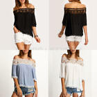 UK Womens Lace Off Shoulder Casual New Tops Loose Blouse Ladies T Shirt Fashion