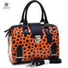 Glossy PVC Leather Handbag Shoulder Bag Satchel With Side Pocket Polka Dot Trim