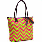 Chevron Print Handbag Quilted Catton Tote Bag with Removable Bow