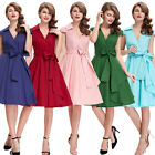 Womens Vintage Retro Style 1950s Cap Sleeve Evening Swing Party Dress
