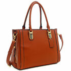 Dasein Buffalo Faux Leather Tote Shoulder Bag with Expandable Zipper Sides