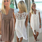 Boho Womens Lace Embroidery Summer Loose Casual Beach Mini Swing Dress CHIC