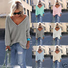 Women Long Sleeve Knitted Pullover Loose Sweater Jumper Cardigans Tops Knitwear