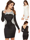 Womens Lace Edging Bodycon Dress Ladies Mesh Long Sleeve Party Stretch 8-14
