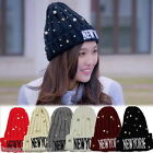 FL Women Winter Letter Wool Knitted Embroidery Pearl Hat Beanie