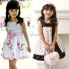 New Girls Kids Tutu Party Princess Sleeveless Dress Floral Polka Dot Outfit DZ88