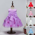 Kids Princess Pageant Bridesmaid Flower Girls Party Wedding Bow Tulle Dresses