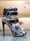 Athena Abstract Leopard Print Strapped Open Toe Stiletto Ankle Boot 8-10 Dana