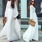 White Summer Sexy Women Chiffon Dress Long Sleeve Party Evening Beach Maxi Dress