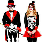 Day of the Dead Adults Halloween Fancy Dress Skeleton Ladies Mens Costume Outfit