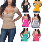 Summer Women's Sexy V-neck Short Sleeve T-shirt Slim Solid Color Top Shirt