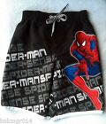 NEW Youth Marvel Spider Sense Swim Trunks Black w/White Different Sizes