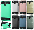 For Kyocera Hydro Shore Brushed Metal HYBRID Rubber Case Phone Cover Accessory