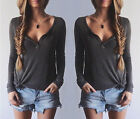 Women's Sexy Fashion Loose Cotton V-Neck Tops Long Sleeve T-Shirt Casual Blouse