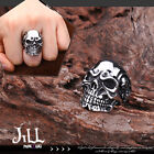 Punk visual heavy Rock Ghost rider skull talismen titanium steel ring J1A602