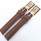 DARLENA 18mm EXTRA LONG PADDED BROWN LEATHER WATCH STRAP  GOLD or SILVER buckle