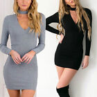 Women Long Sleeve Bandage Bodycon Evening Party Cocktail Mini Dress