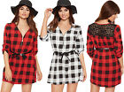 Womens Checked Belted Mini Dress Lace Back Short Sleeve Long Top Ladies New 8-14