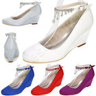 Closed Toe Satin Wedding Shoes Crystal Mid Heels Wedges Ankle Strap Women Pumps