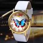 Vintage Gold Dial Roman Numerals Leather Band Women Girl Butterfly Quartz Watch
