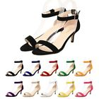 Women's Peep Toe Flocking Sandals Ankle Strap 5cm High Heels Party Wedding Shoes