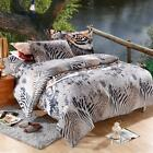 4x Tiger Pattern Bedding Set Bedclothes Home Textiles Queen King Twin Size Y9Z2