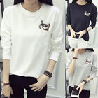 Korean Womens Loose Long Sleeve Cotton Casual Blouse Tops Fashion T-shirt Hot CH